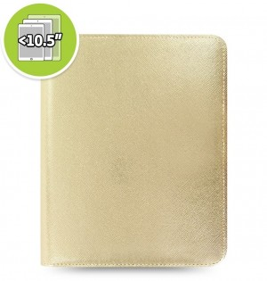 Funda tableta Saffiano Metallic Zip + eniTAB360 - Large - Gold
