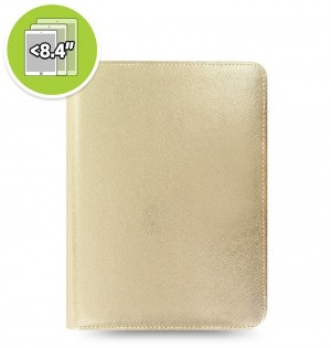Funda tableta Saffiano Metallic Zip + eniTAB360 - Small - Gold